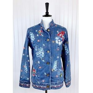 Denim & Co. • Floral Embroidered Jean Jacket • XS